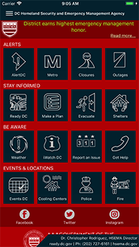 A view of the AlertDC page within the HSEMA mobile application