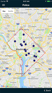 A view of the cooling centers tab in the mobile application which shows the locations of cooling centers located within the District of Columbia.
