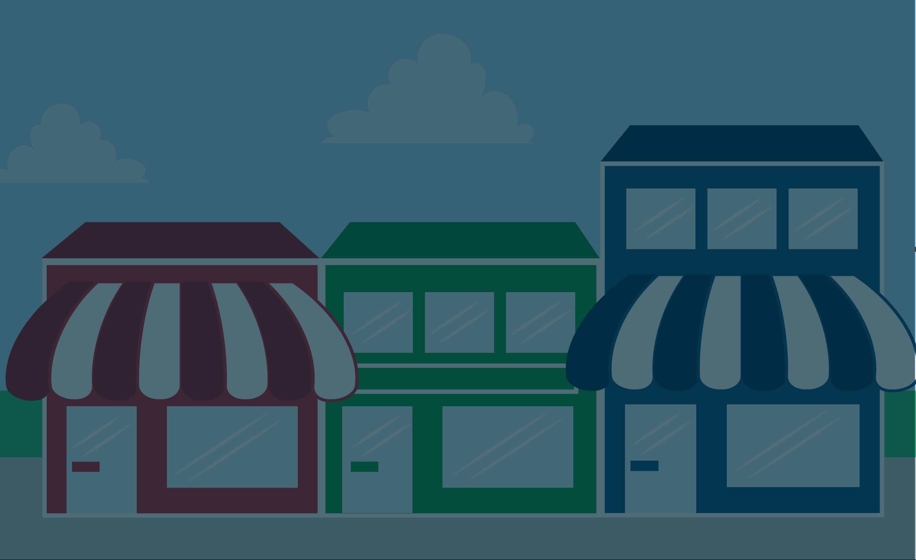 Illustration of businesses on a street