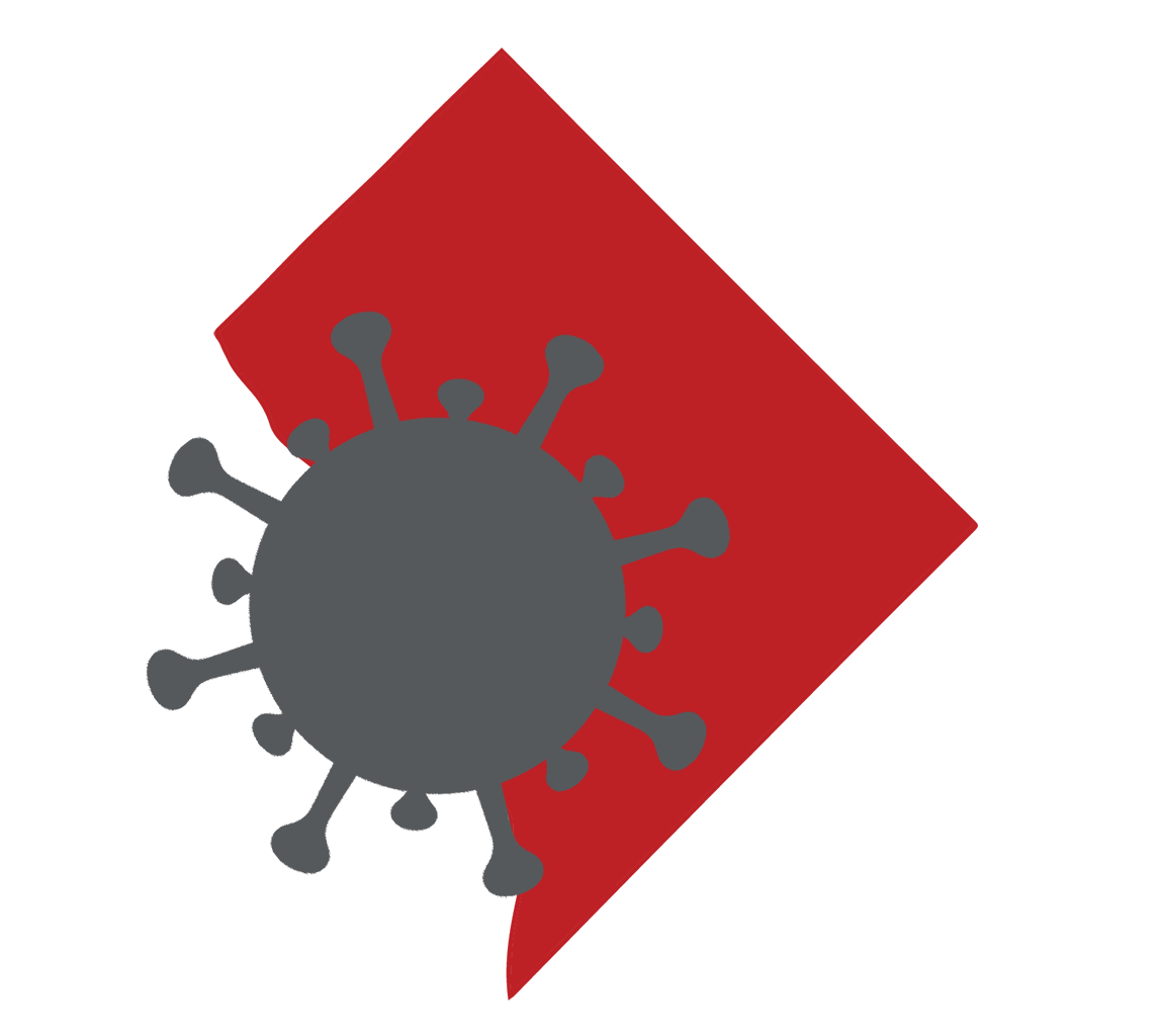Image of an outline of the District with a virus cell overlaid